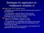 strategies for application to middleware reliability i