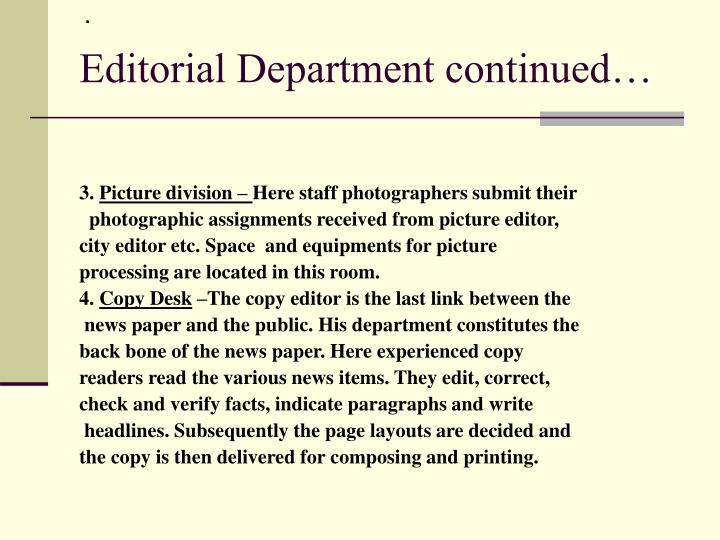 Editorial department continued