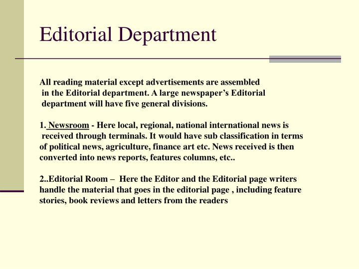 Editorial Department