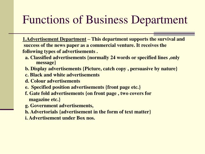 Functions of Business Department