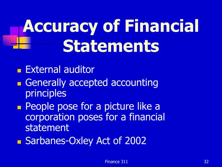 Accuracy of Financial Statements