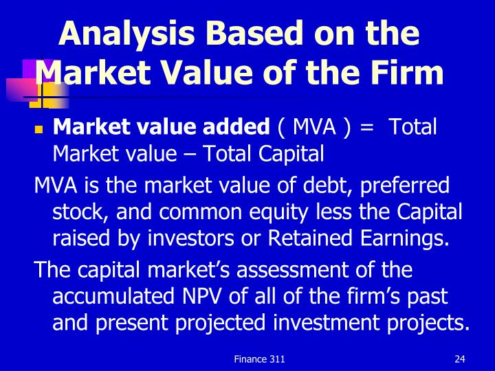 Analysis Based on the Market Value of the Firm