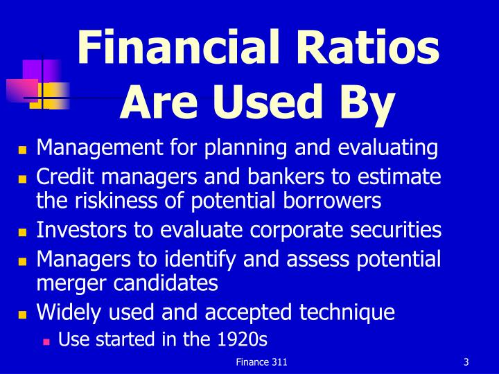 Financial Ratios Are Used By