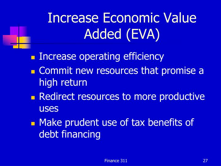 Increase Economic Value Added (EVA)