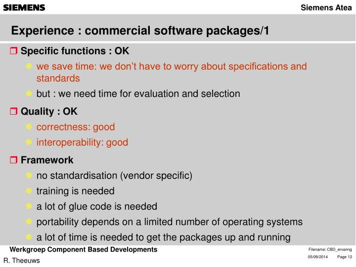 Experience : commercial software packages/1