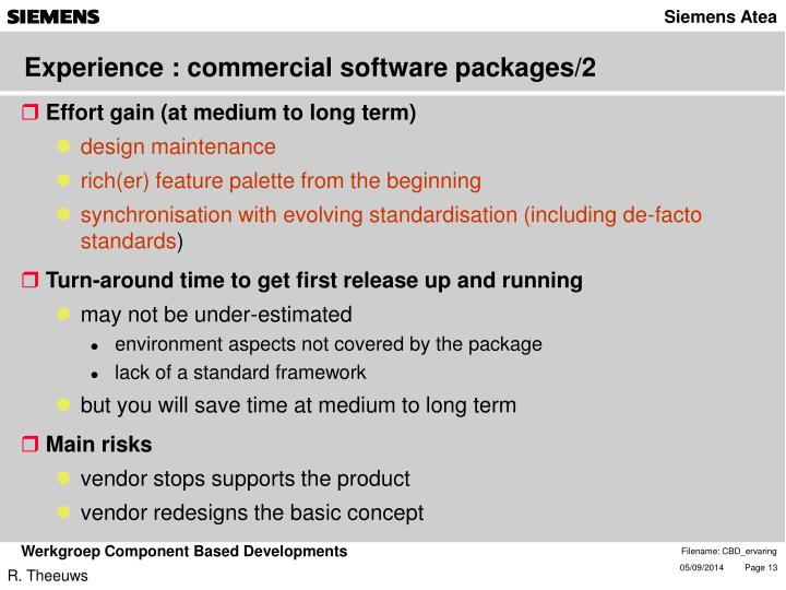Experience : commercial software packages/2