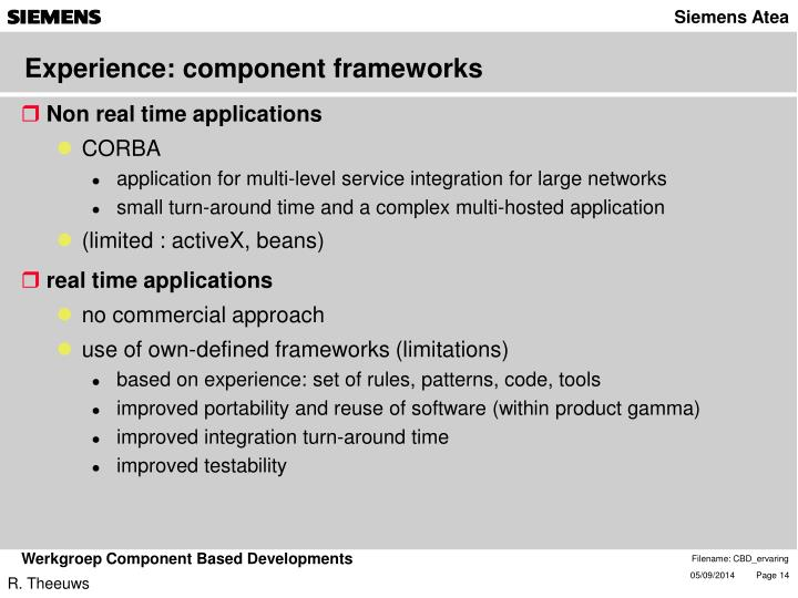 Experience: component frameworks
