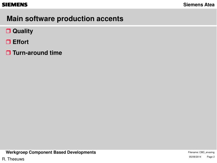 Main software production accents