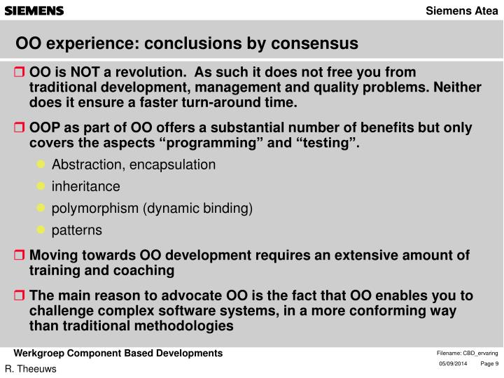 OO experience: conclusions by consensus