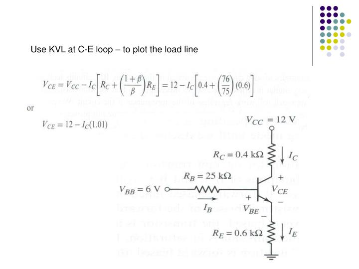 Use KVL at C-E loop – to plot the load line