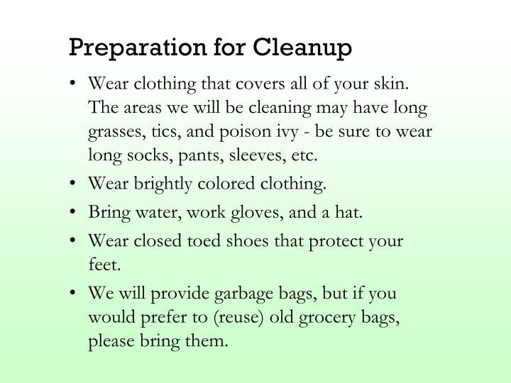 Preparation for Cleanup