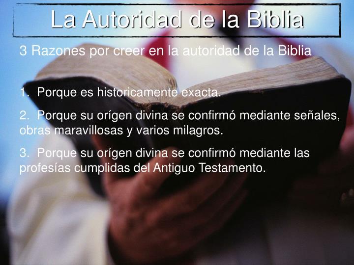 La Autoridad de la Biblia