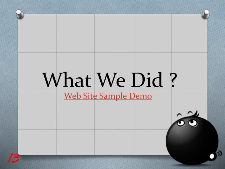 What We Did ?
