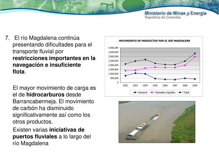 7.   El río Magdalena continúa presentando dificultades para el transporte fluvial por