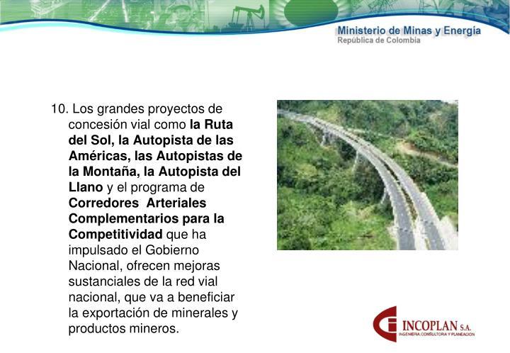 10. Los grandes proyectos de concesión vial como