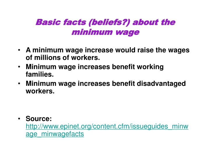 Basic facts (beliefs?) about the minimum wage
