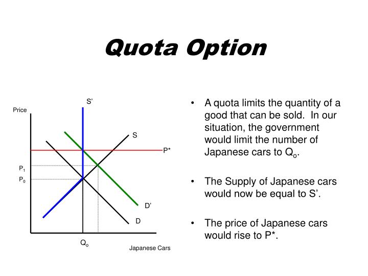 A quota limits the quantity of a good that can be sold.  In our situation, the government would limit the number of Japanese cars to Q