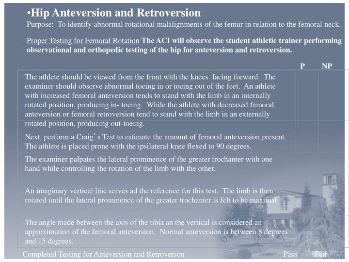 Hip Anteversion and Retroversion