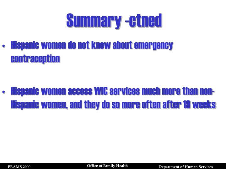 Summary -ctned