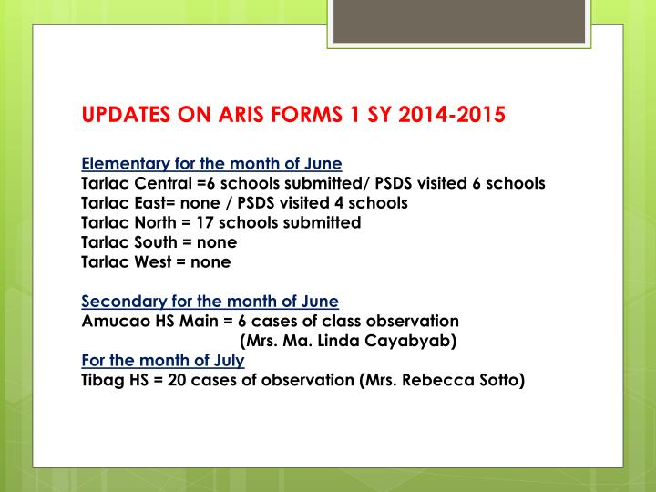 UPDATES ON ARIS FORMS 1 SY 2014-2015