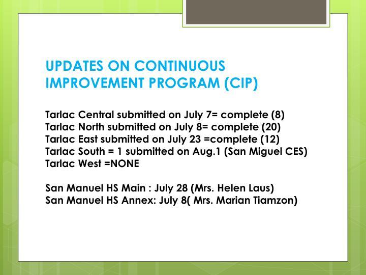 UPDATES ON CONTINUOUS IMPROVEMENT PROGRAM (CIP)