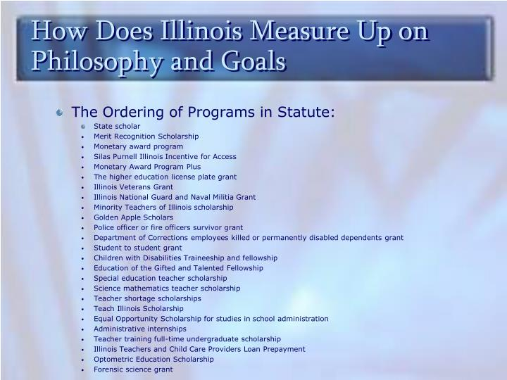 How Does Illinois Measure Up on Philosophy and Goals