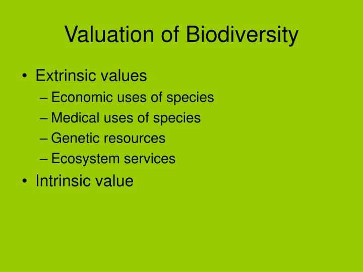 Valuation of Biodiversity