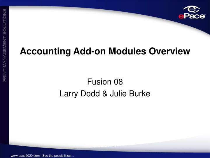 Accounting add on modules overview
