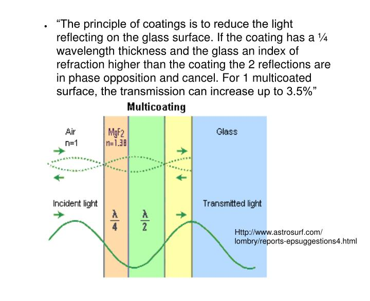 """The principle of coatings is to reduce the light reflecting on the glass surface. If the coating has a ¼ wavelength thickness and the glass an index of refraction higher than the coating the 2 reflections are in phase opposition and cancel. For 1 multicoated surface, the transmission can increase up to 3.5%"""
