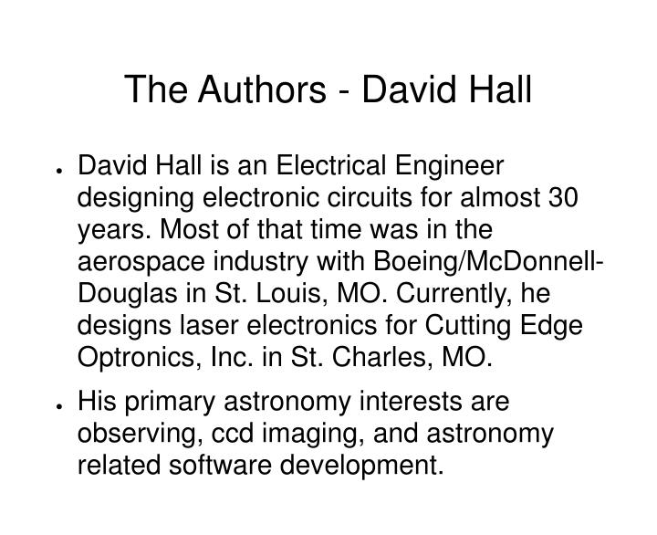 The authors david hall