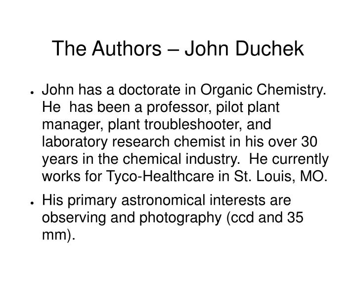 The Authors – John Duchek