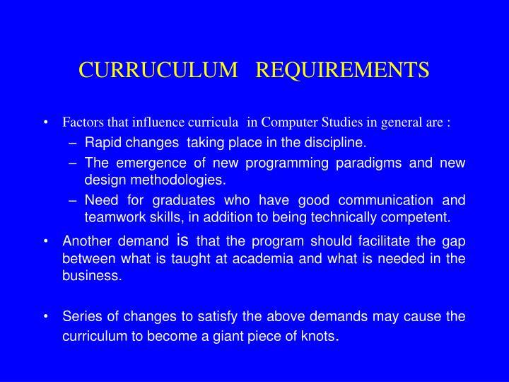 CURRUCULUM   REQUIREMENTS