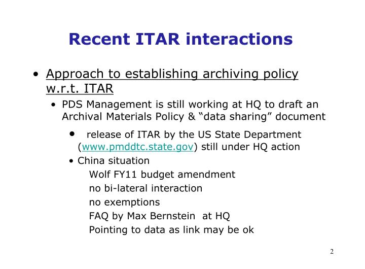 Recent itar interactions