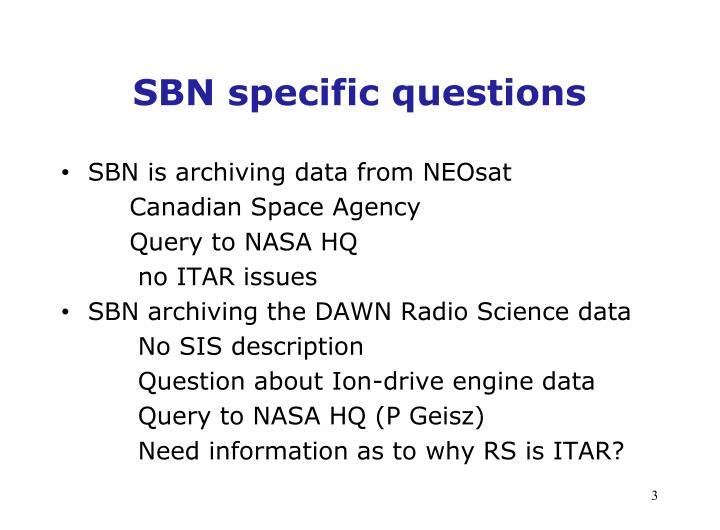SBN specific questions