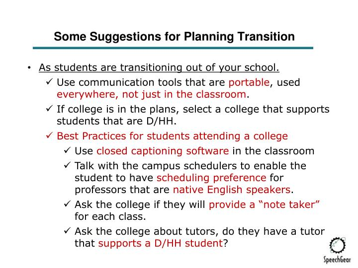 Some Suggestions for Planning Transition