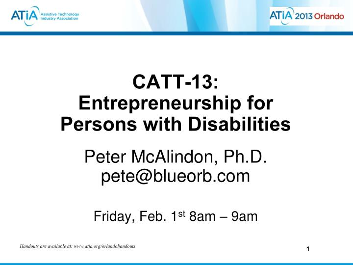 Catt 13 entrepreneurship for persons with disabilities