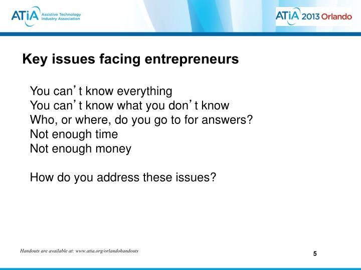 Key issues facing entrepreneurs