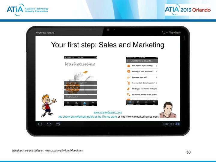 Your first step: Sales and Marketing