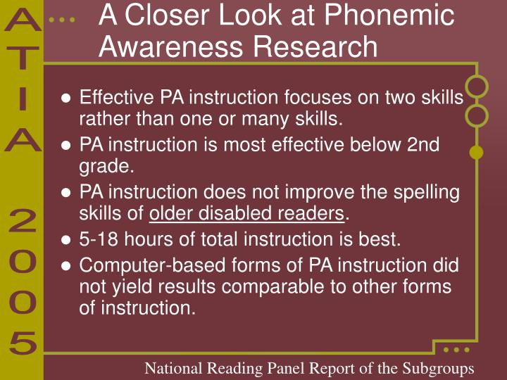 A Closer Look at Phonemic Awareness Research