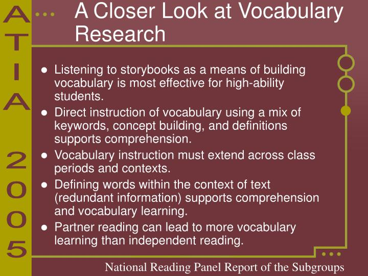 A Closer Look at Vocabulary Research