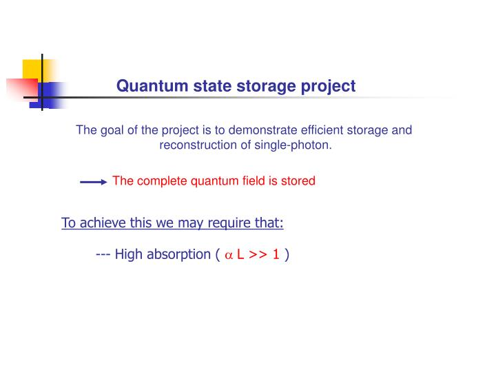 Quantum state storage project