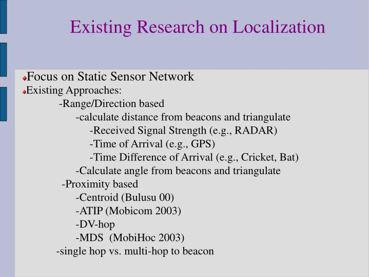 Existing Research on Localization
