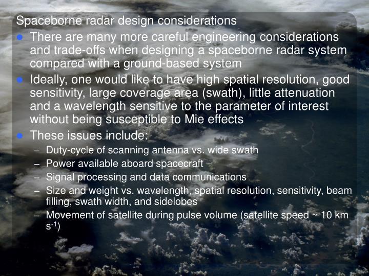 Spaceborne radar design considerations