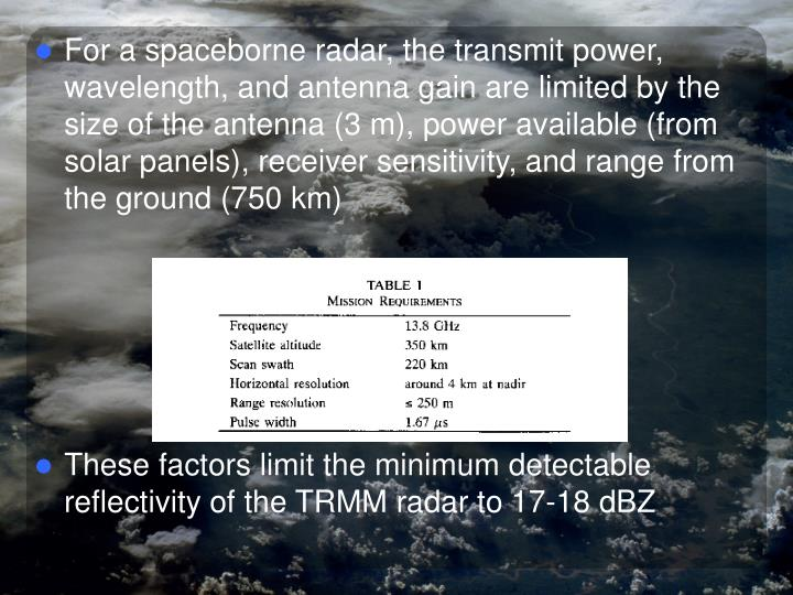 For a spaceborne radar, the transmit power, wavelength, and antenna gain are limited by the size of the antenna (3 m), power available (from solar panels), receiver sensitivity, and range from the ground (750 km)