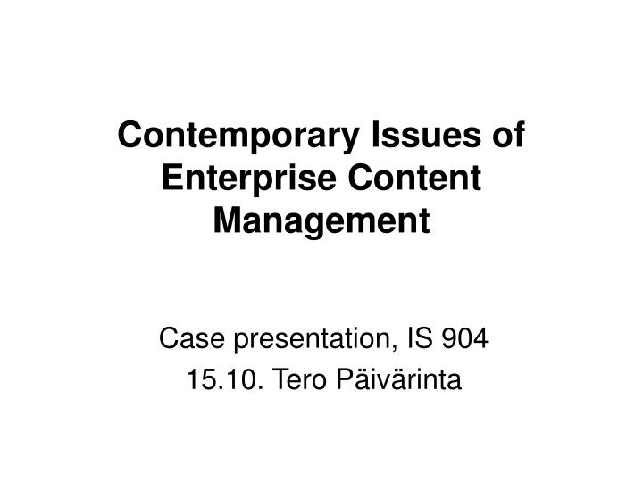 Contemporary Issues of
