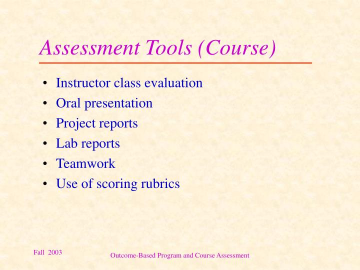 Assessment Tools (Course)