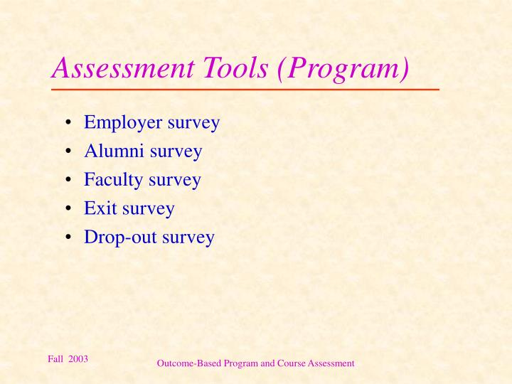Assessment Tools (Program)