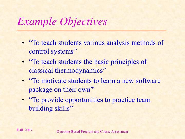 Example Objectives