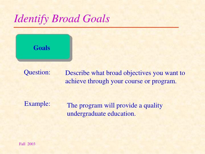 Identify Broad Goals