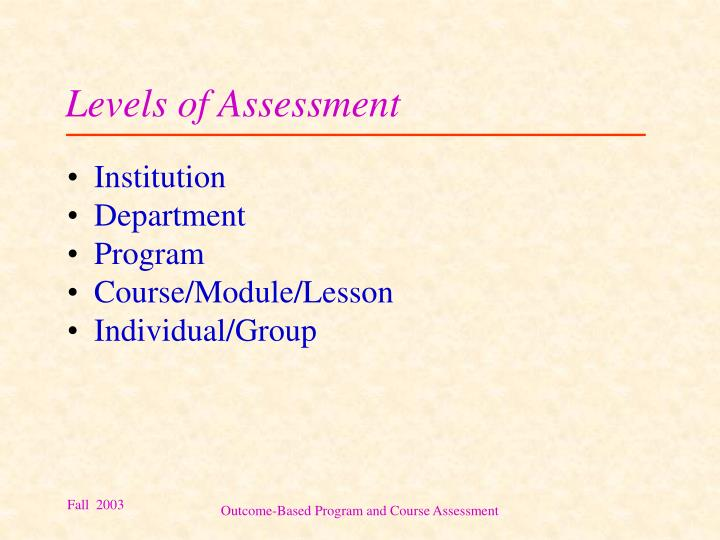 Levels of Assessment
